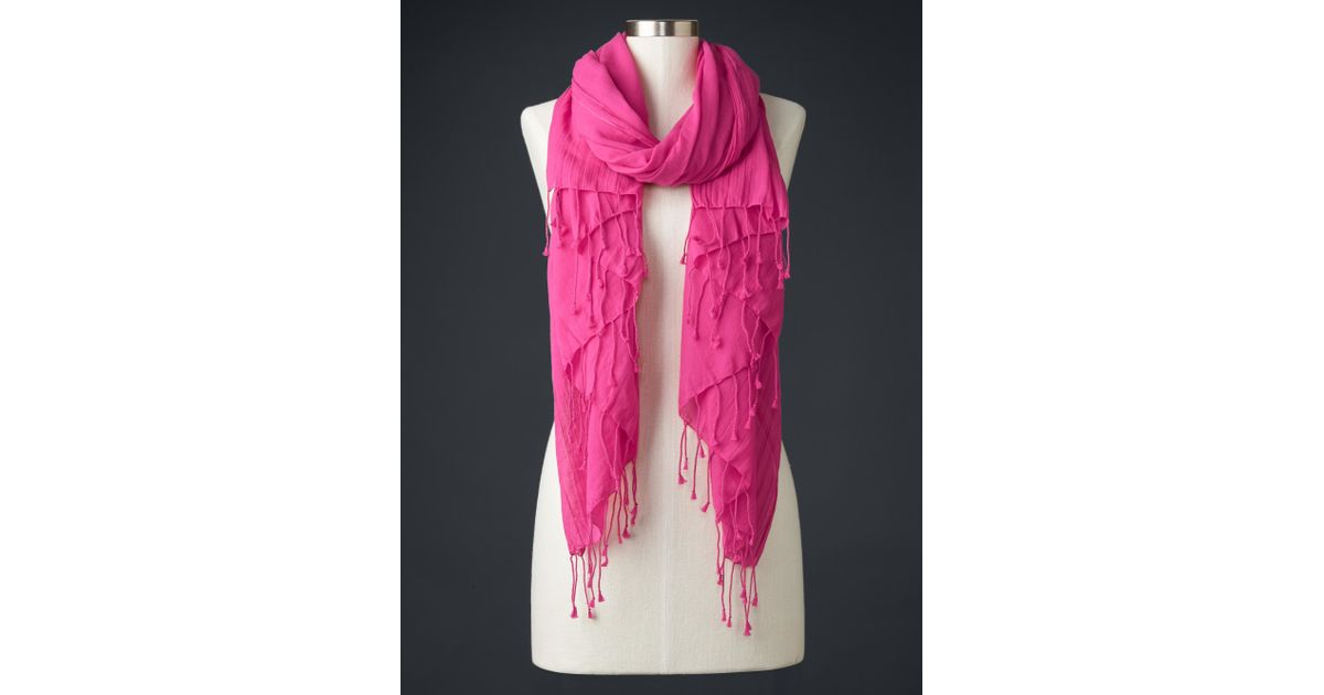 gap solid fringe scarf in pink royal fuchsia save 40