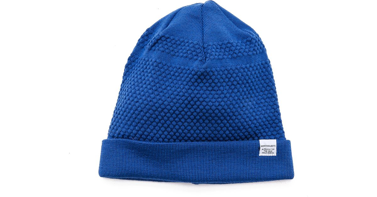 b027402559b Lyst - Norse Projects Bubble Knit Beanie in Blue for Men