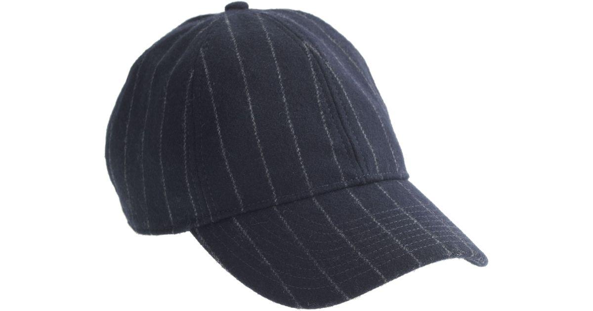 5015395f5caed Lyst - J.Crew Wool Pinstripe Baseball Cap in Blue