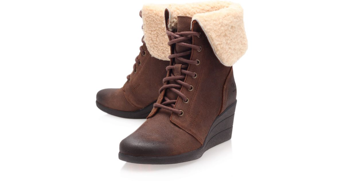 0dd0de793df6 ... clearance lyst ugg brown leather zea shearling lace up ankle boots in  brown 2f245 673cf