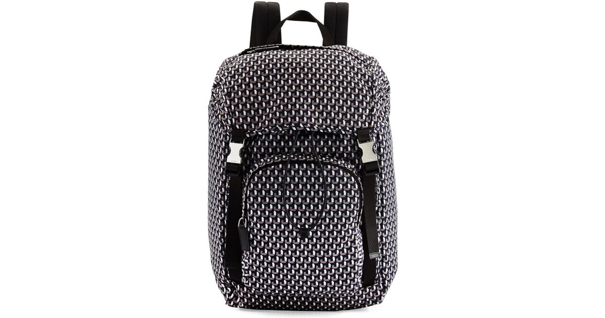 prada grey cloth backpack