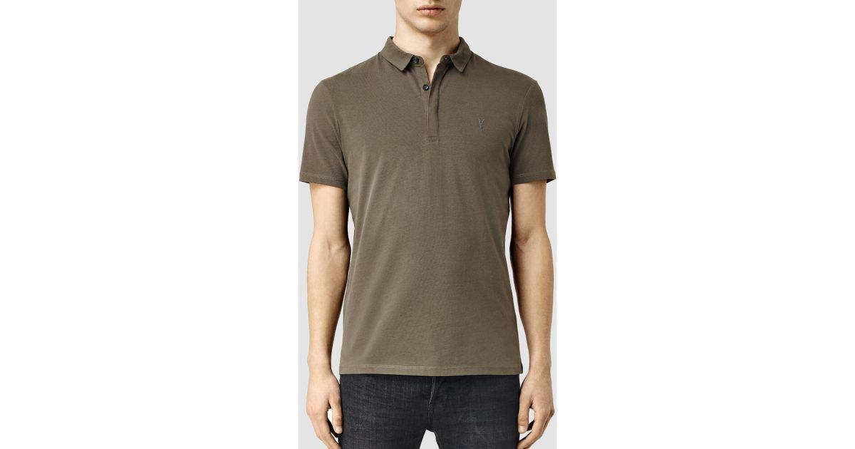 Allsaints Brace Polo Shirt In Green For Men Lyst