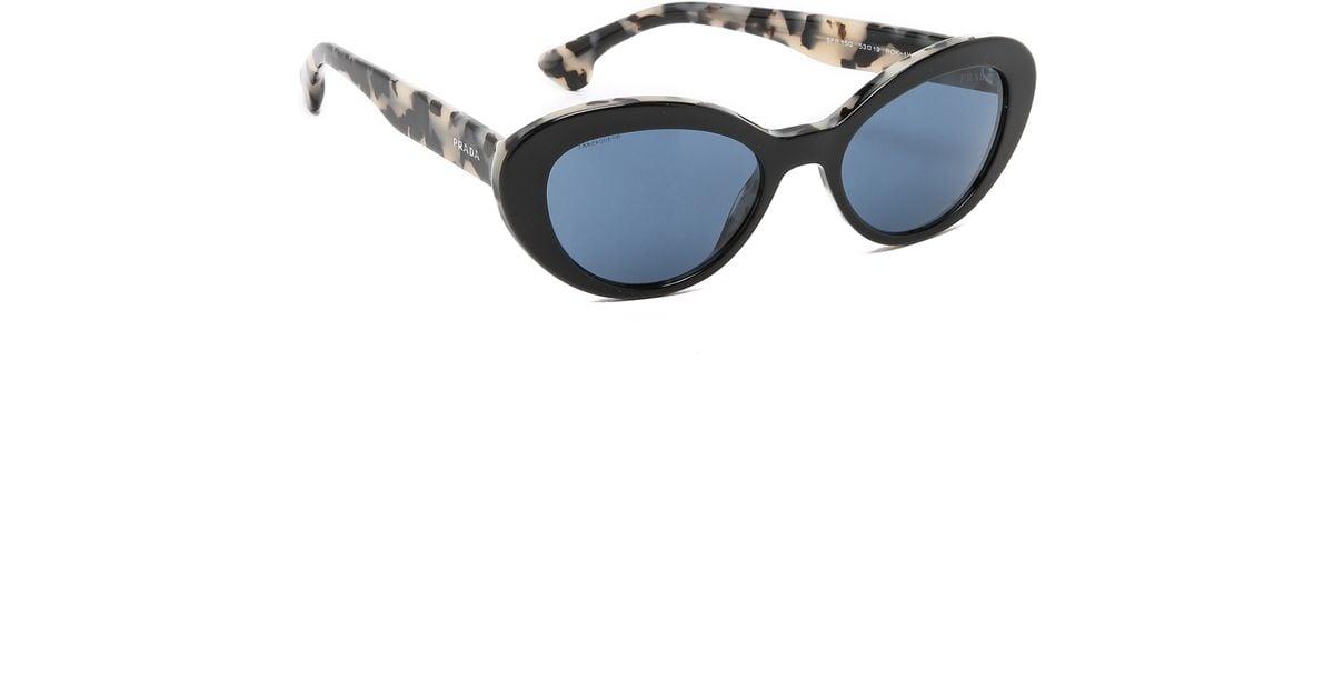 blue prada handbags - Prada Oval Cat Sunglasses in Black (Black/White Havana/Blue) | Lyst