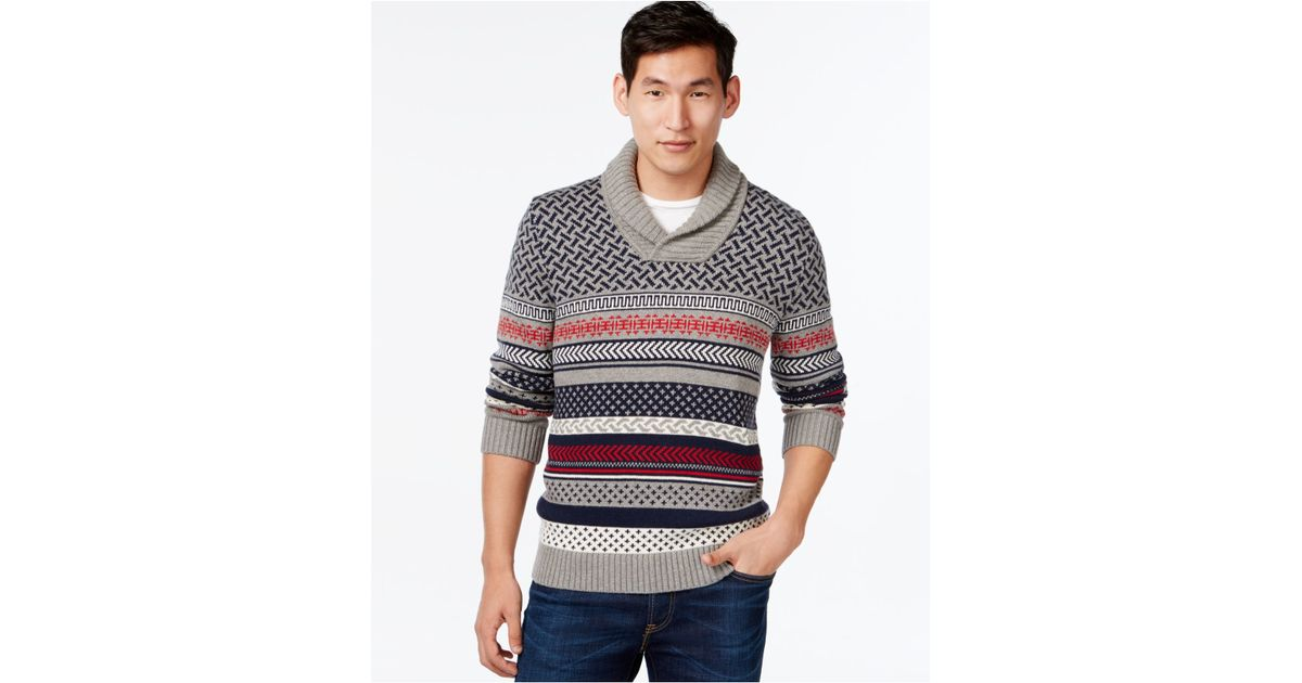Tommy hilfiger Bodie Fair Isle Shawl-collar Sweater in Gray for ...
