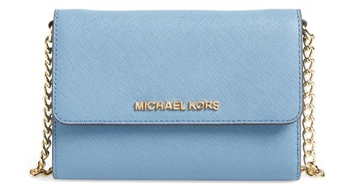 3334ccbf7438 Lyst - MICHAEL Michael Kors  jet Set - Large Phone  Saffiano Leather Crossbody  Bag in Blue