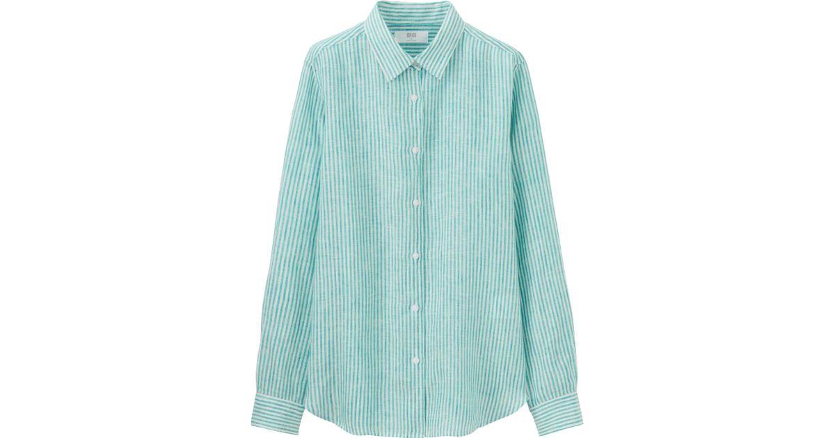 Uniqlo women 39 s premium linen patterned long sleeve shirt for Uniqlo premium t shirt