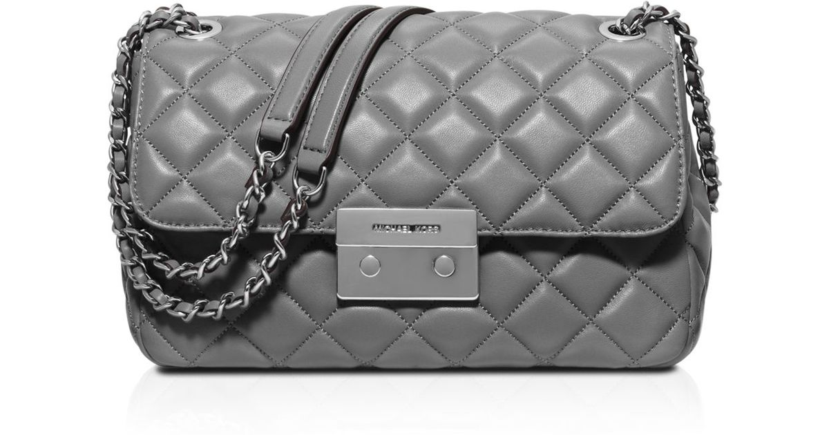 8d60186a133fa Lyst - Michael Kors Sloan Large Quilted-Leather Shoulder Bag in Black
