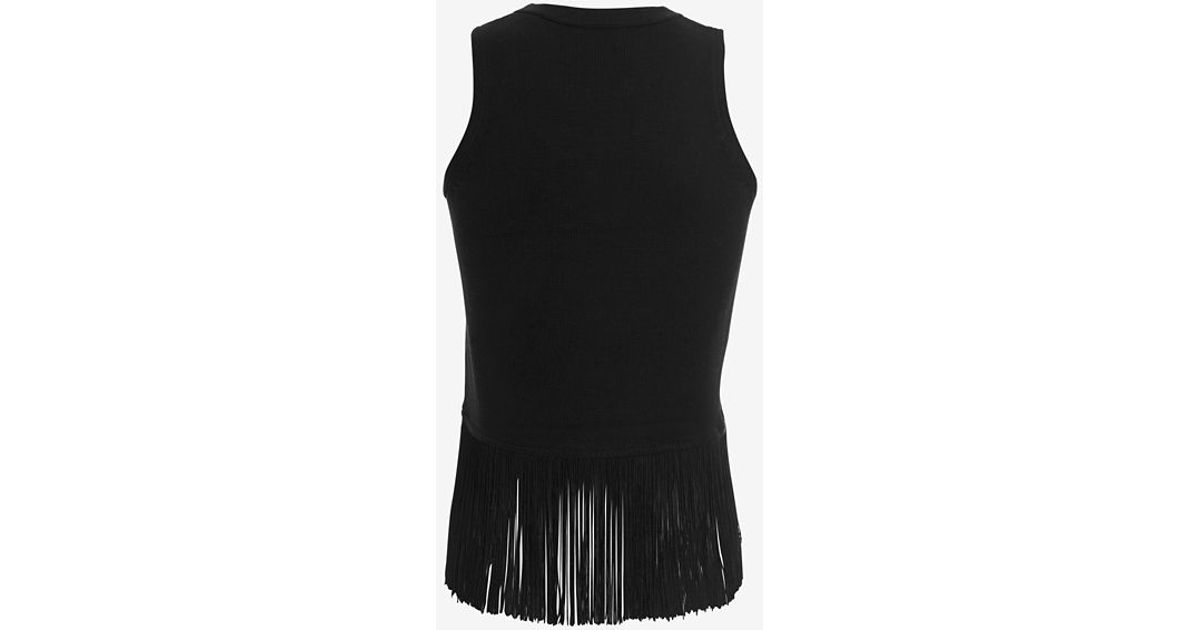 3455cb75f1307 Lyst - Timo Weiland Exclusive Fringe Trim Knit Tank in Black