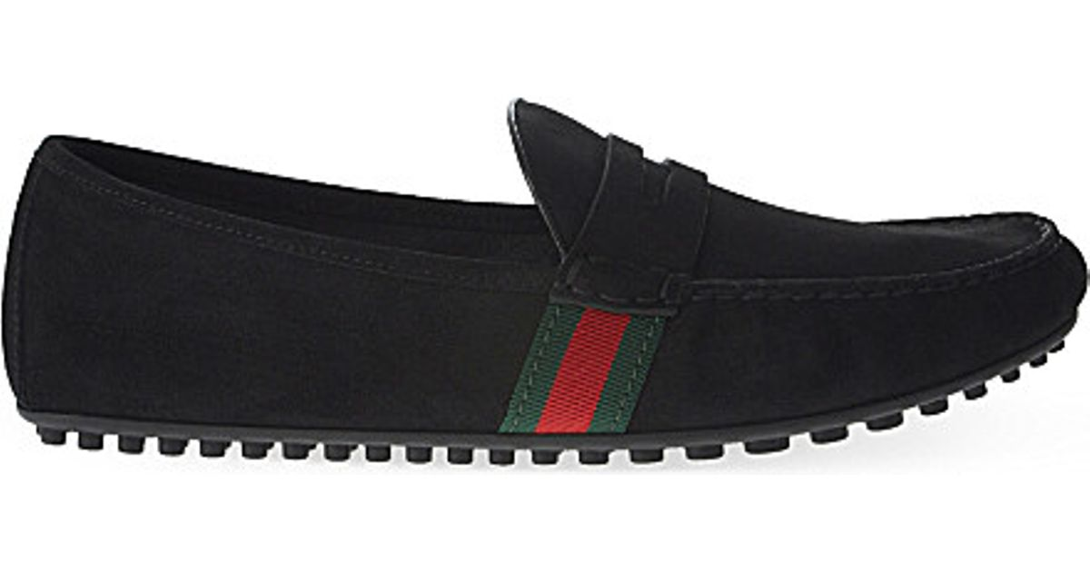 c7462aba28d Lyst - Gucci Kanye Suede Web Driving Shoes in Black for Men