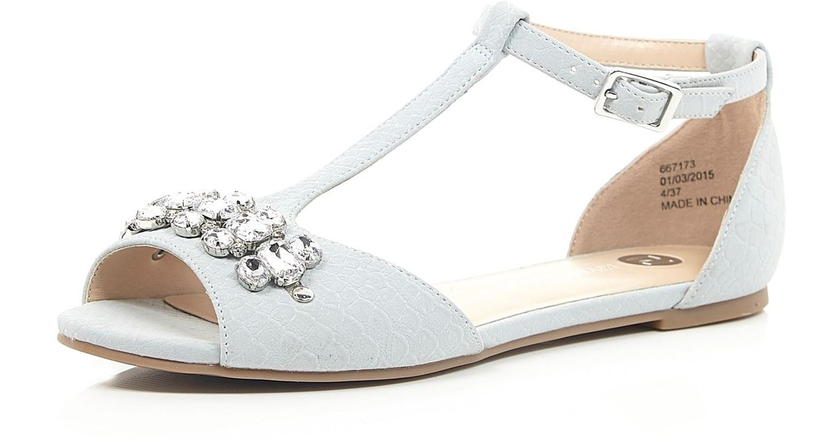 2b76853c7 River Island Light Blue Embellished T-Bar Shoes in Blue - Lyst