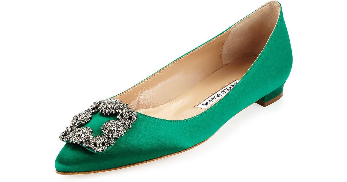 a3015239389de cheapest manolo blahnik lime flats 787ca 00008; where can i buy lyst manolo  blahnik hangisi crystal buckle satin flat in green 0dfdd 74f7f