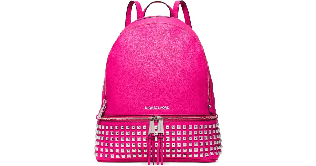 176144ce9668 ... discount lyst michael kors michael rhea zip large studded backpack in  pink 72036 1e4aa