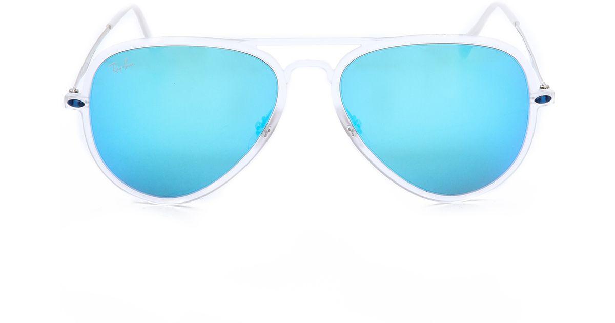 6f11f177df Ray-Ban Tech Light Aviator Sunglasses - Matte Transparent Green Mirror in  Blue - Lyst