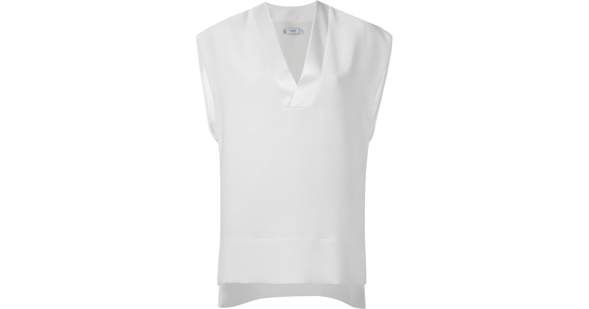 d774a60a9b3b Vince V-neck Short Sleeve Blouse in White - Lyst