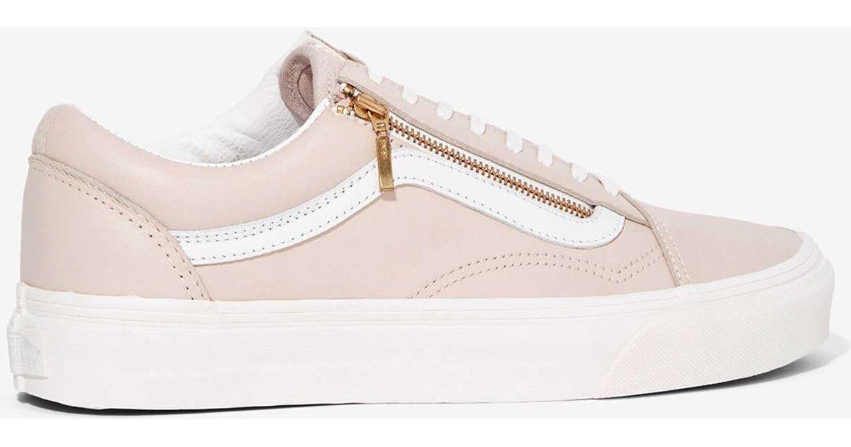 Lyst - Vans Old Skool Zip Leather Sneaker in Pink 4575911fd336