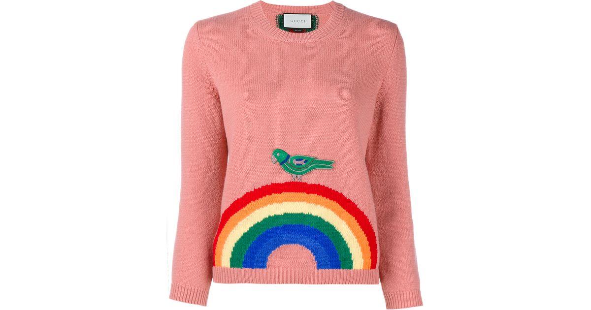 c9712cd9f Gucci Wool Rainbow Knit in Pink - Lyst