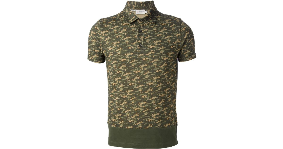 089fd2c05721 Lyst - Moncler Camouflage Polo Shirt in Green for Men