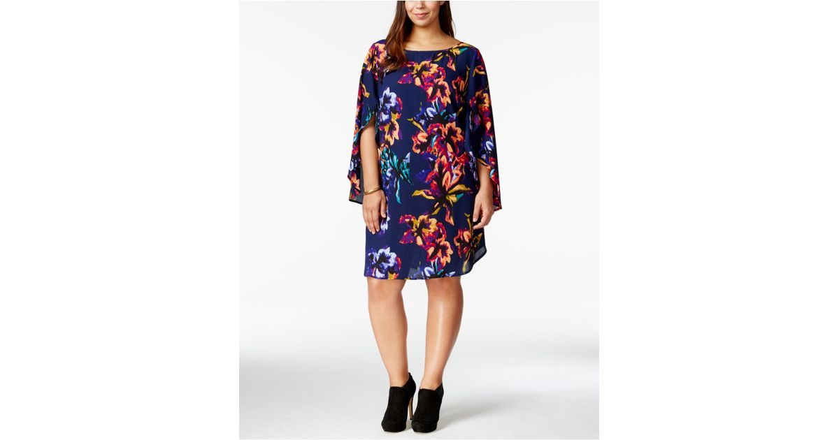 842978846d7 Lyst - Love Squared Plus Size Flutter-sleeve Floral-print Shift Dress