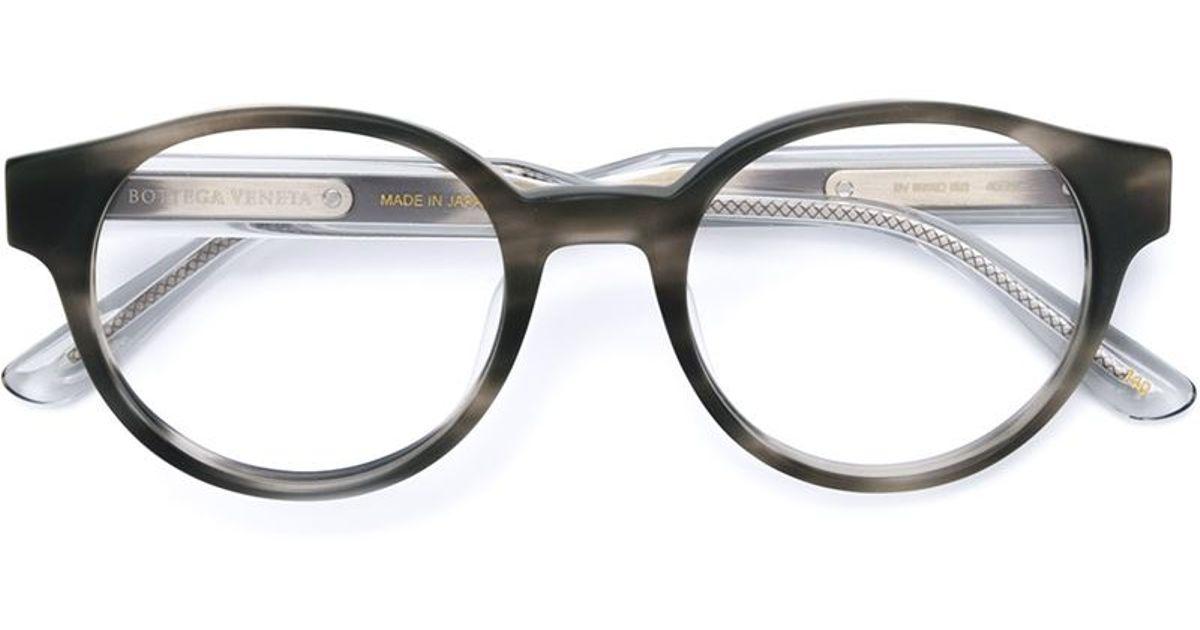 Bottega veneta Round Frame Glasses in Gray (GREY) Lyst