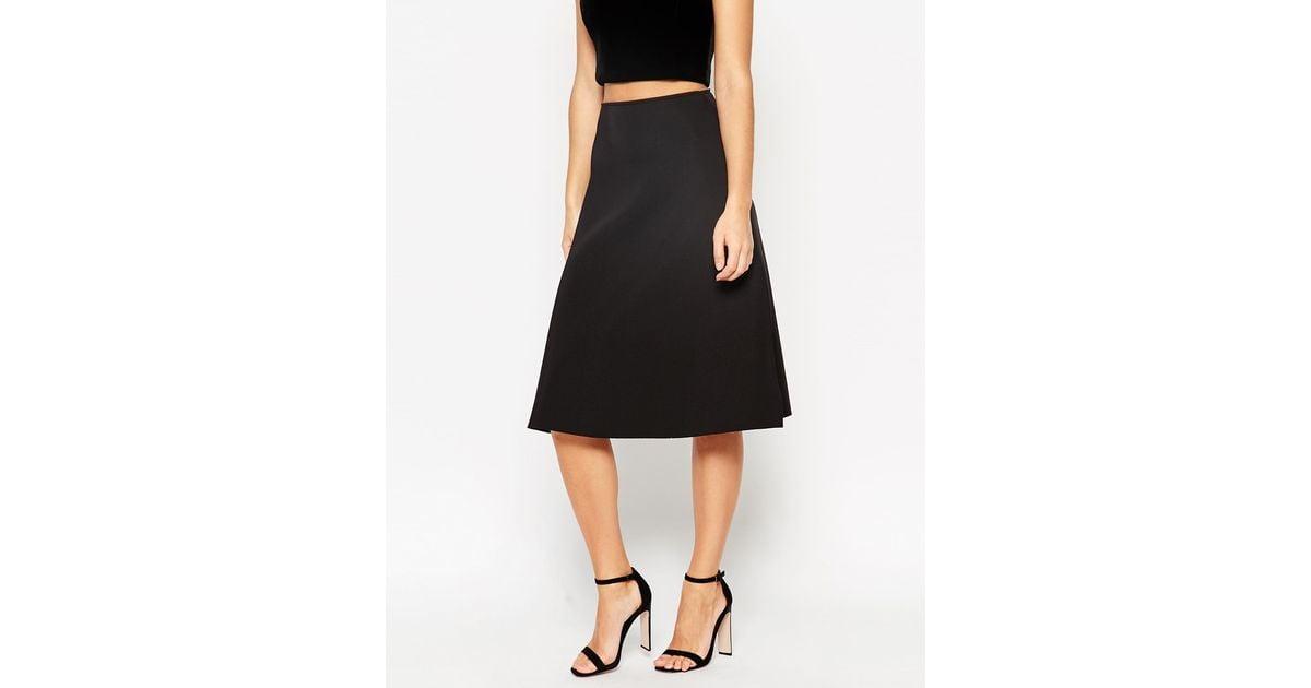 asos midi skirt in scuba fabric in black lyst