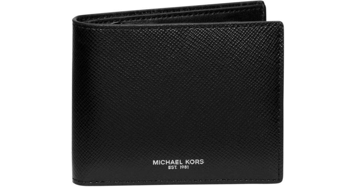 820f17b78fb5 Lyst - Michael Kors Harrison Coin-pocket Leather Billfold Wallet in Black  for Men