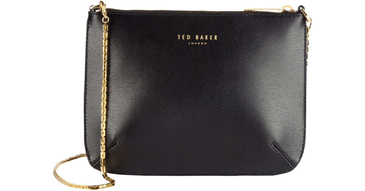 bbad368d2093 Ted Baker Harley Leather Crosshatch Cross Body Bag in Black - Lyst
