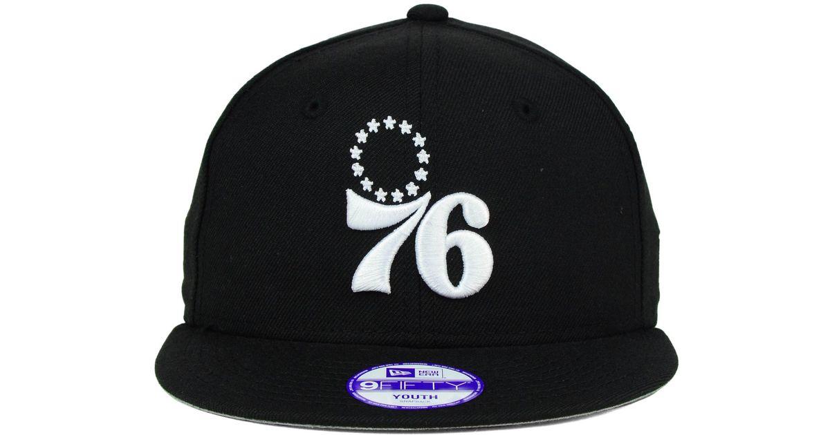 hot sale online e03f8 9553b ... usa lyst ktz kids philadelphia 76ers black white 9fifty snapback cap in  black for men 00076