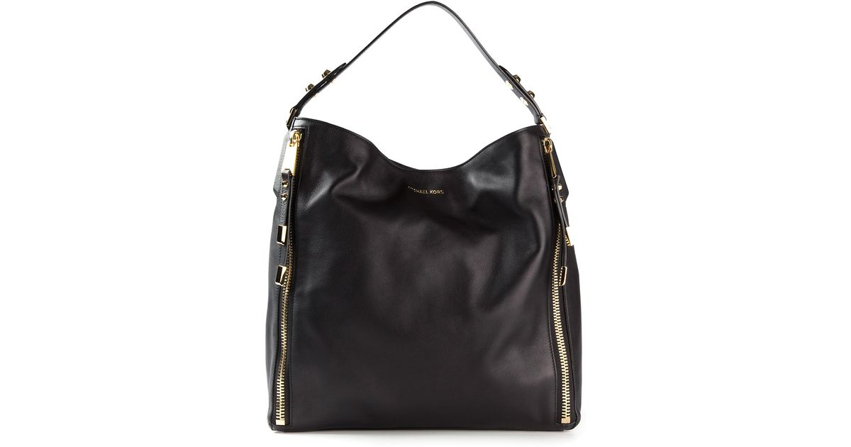 45b4596f9ace ... shopping michael kors large miranda zipper shoulder bag in black lyst  294a9 b06a8 ...