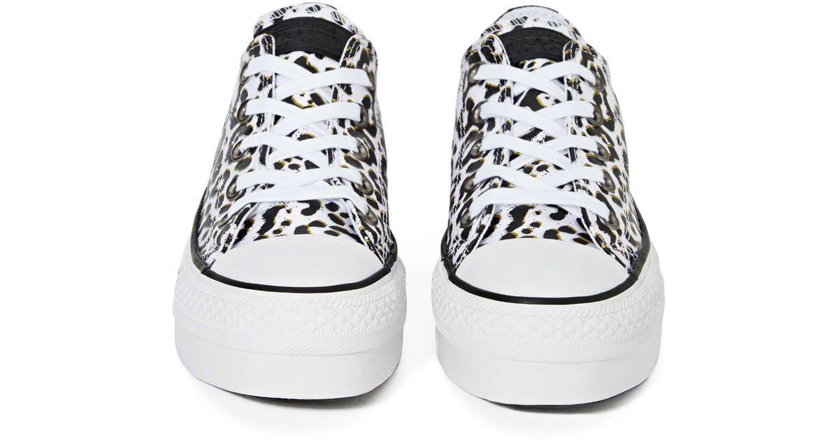 0d42ce43e59 Lyst - Nasty Gal Chuck Taylor All Star Flatform Sneaker - Leopard