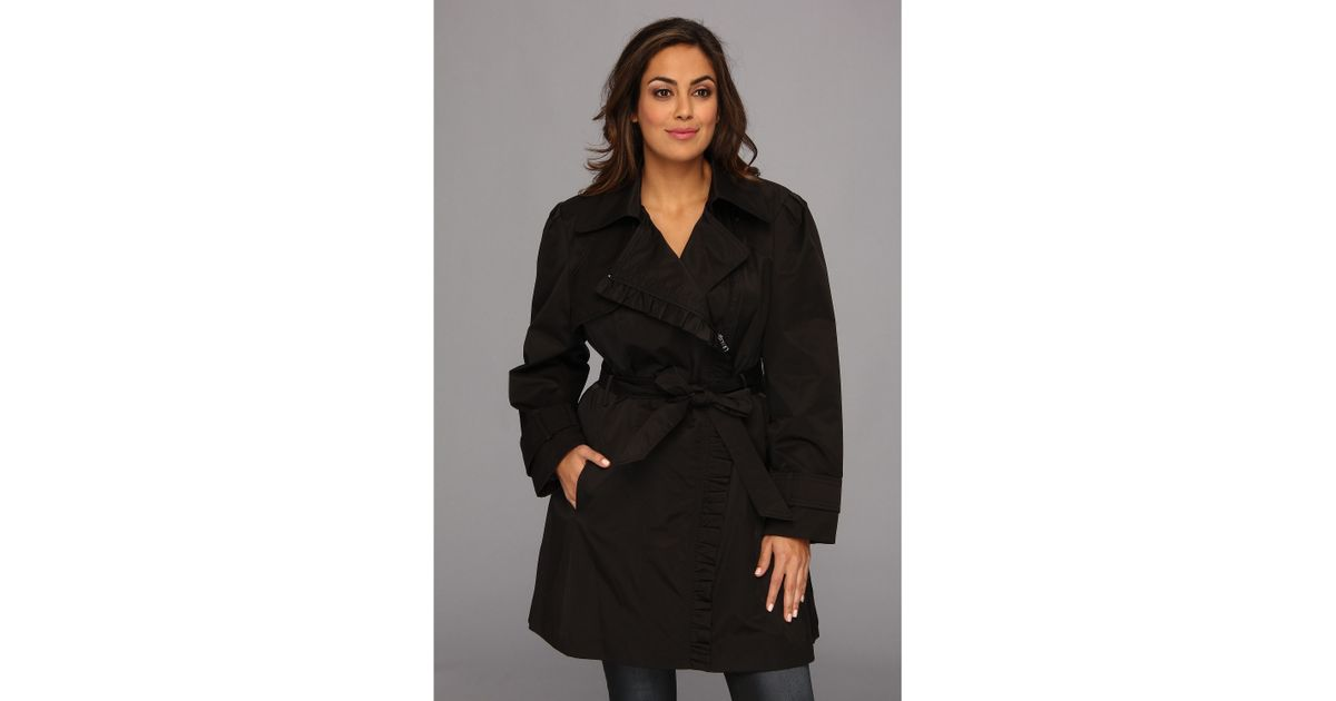 6370234eea408 Lyst - Jessica Simpson Plus Size Ruffle Trim Belted Trench Coat in Black