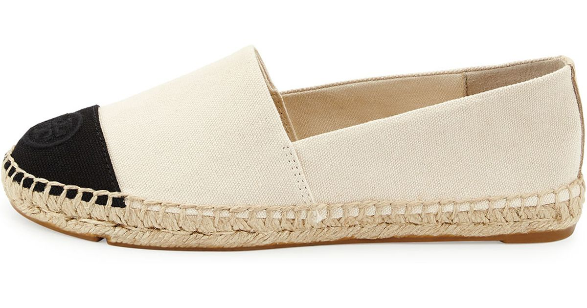 92ee9d1f9ed Lyst - Tory Burch Canvas Colorblock Espadrille Flat in White