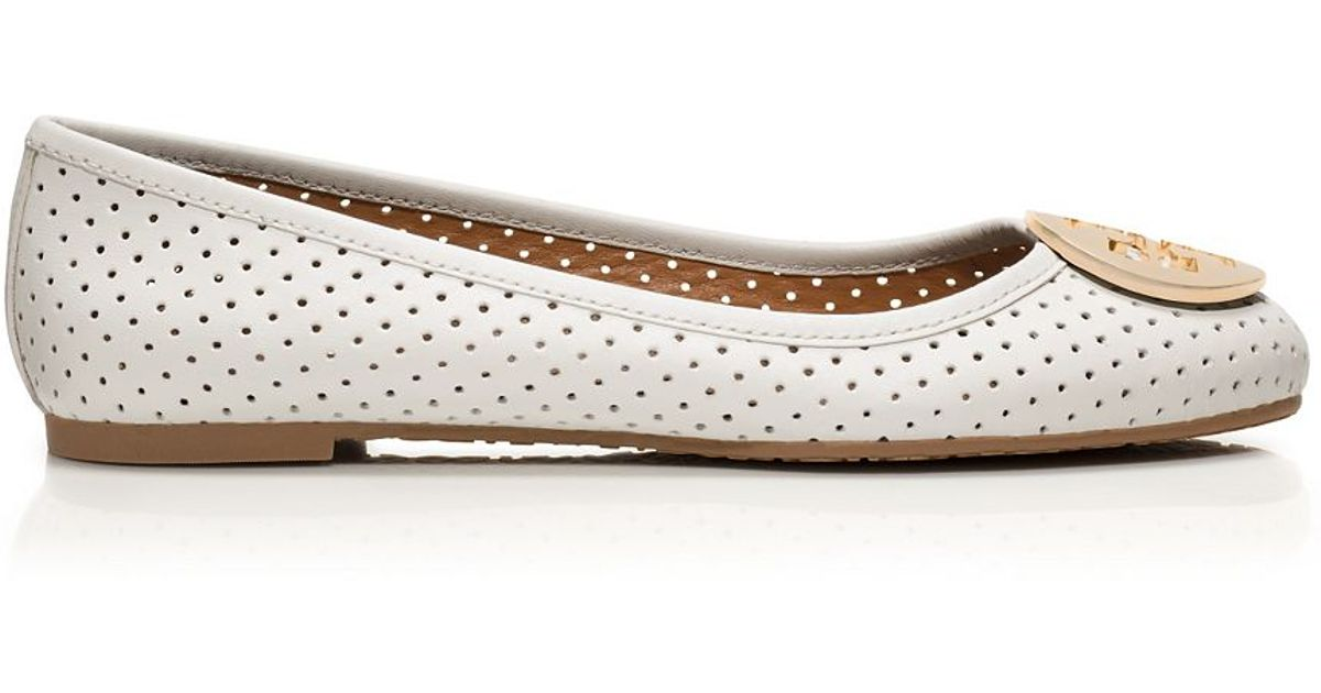 9c48bb3620c Lyst - Tory Burch Reva Perforated Leather Ballet Flats in White