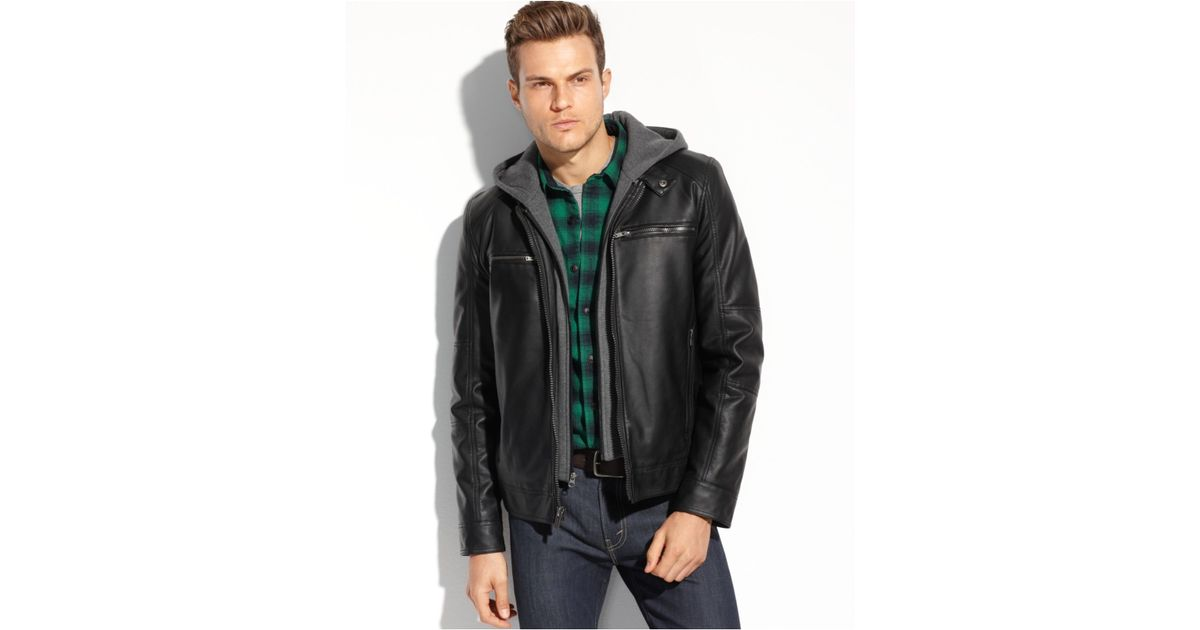 Lyst Guess Faux Leather Hooded Moto Jacket In Gray For Men