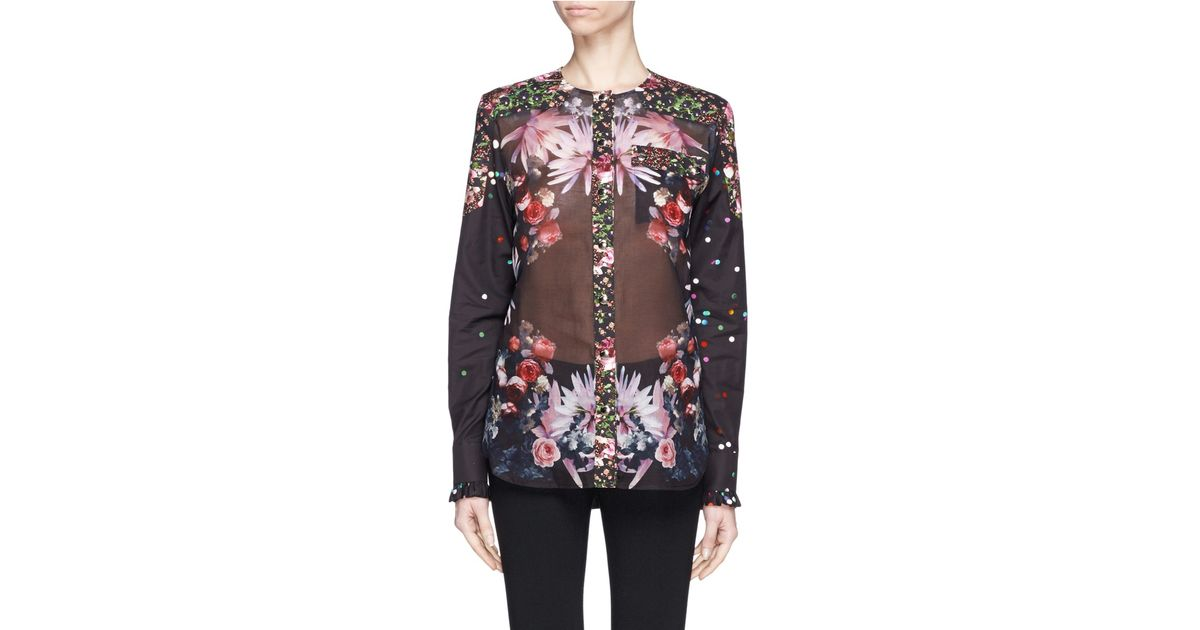 confetti collage givenchy collage floral and confetti print cotton shirt lyst