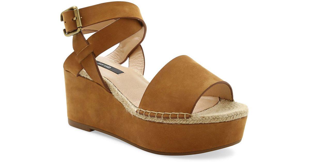 863c049e3 Kensie Teal Nubuck Platform Sandals - Lyst
