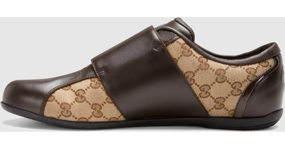 a57063586 Gucci Brown Leather Velcro Shoe in Brown for Men - Lyst
