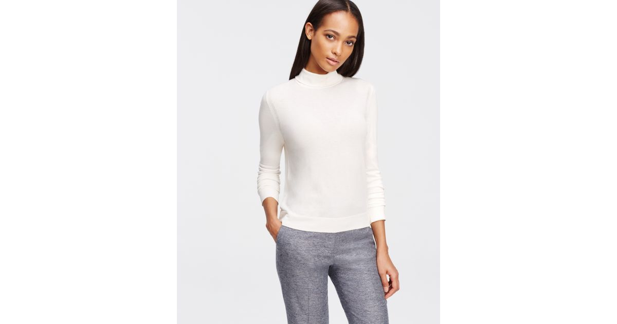 Ann taylor Petite Cropped Turtleneck Sweater in White | Lyst