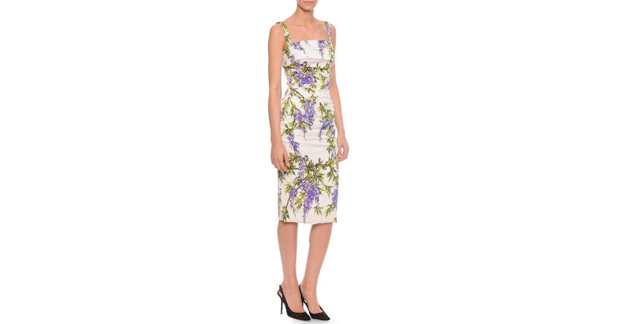 688e1e62 Lyst - Dolce & Gabbana Wisteria-Print Side-Ruched Crepe Dress in White