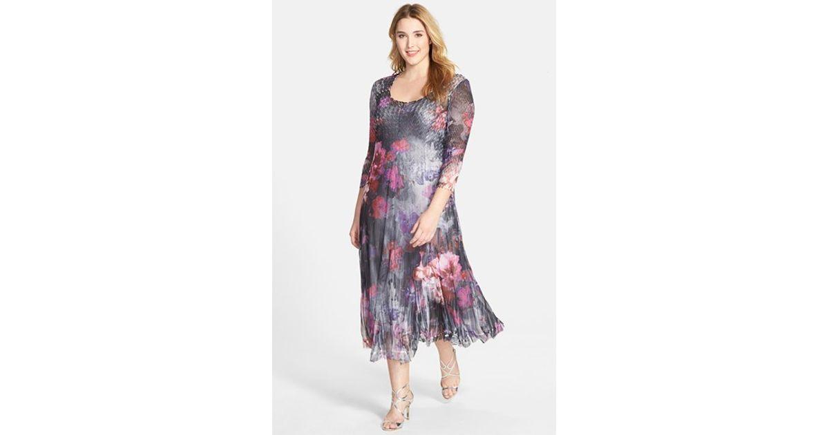 Lyst Komarov Plus Size Womens Floral Print Pleated Chiffon Dress