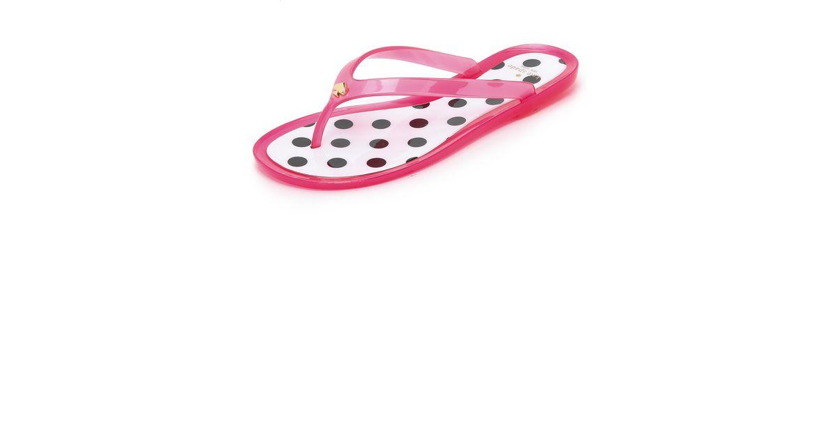 Kate Spade Janela Jelly Flip Flops In Pink Lipstick  Lyst-9173
