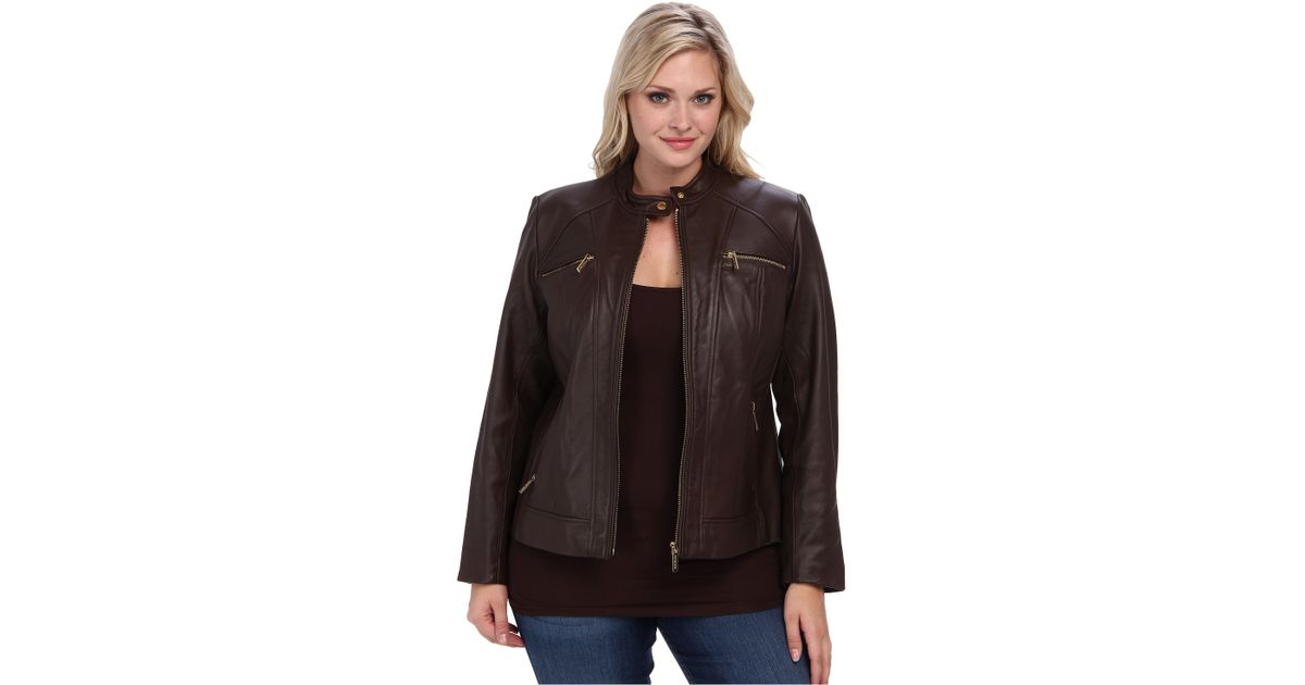 b8878c7b3d0 MICHAEL Michael Kors Plus Size Zip Pocket Leather Jacket in Brown - Lyst