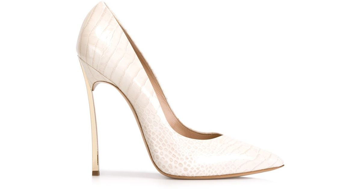 ef43eb3115 Lyst - Casadei Blade Croc-Embossed Patent Leather Pumps in White
