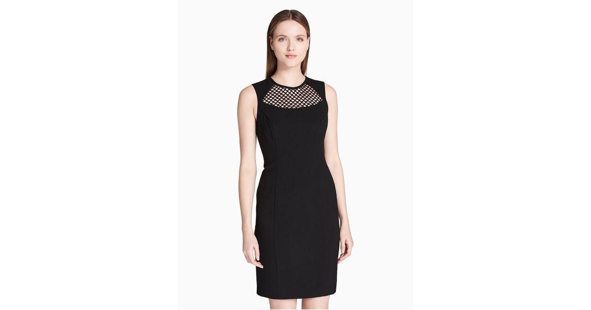 Lyst - Calvin Klein 205W39Nyc Mesh Yoke Sheath Dress in Black df0eb072d