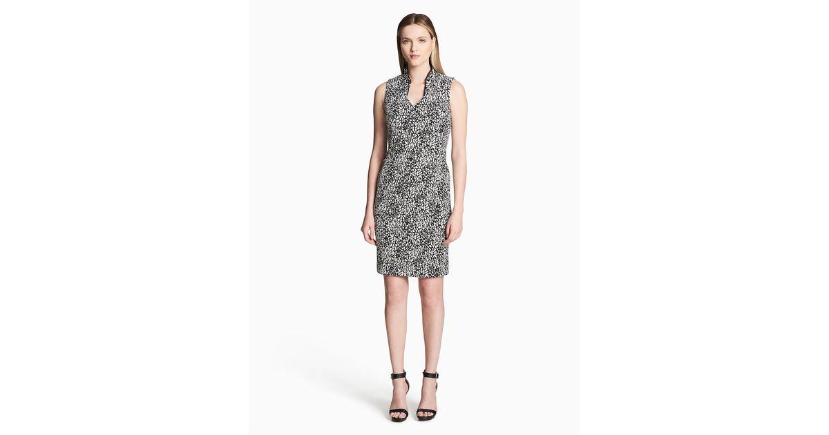 715fc868 Lyst - Calvin Klein 205W39Nyc V-neck Jacquard Compression Sheath Dress in  Black