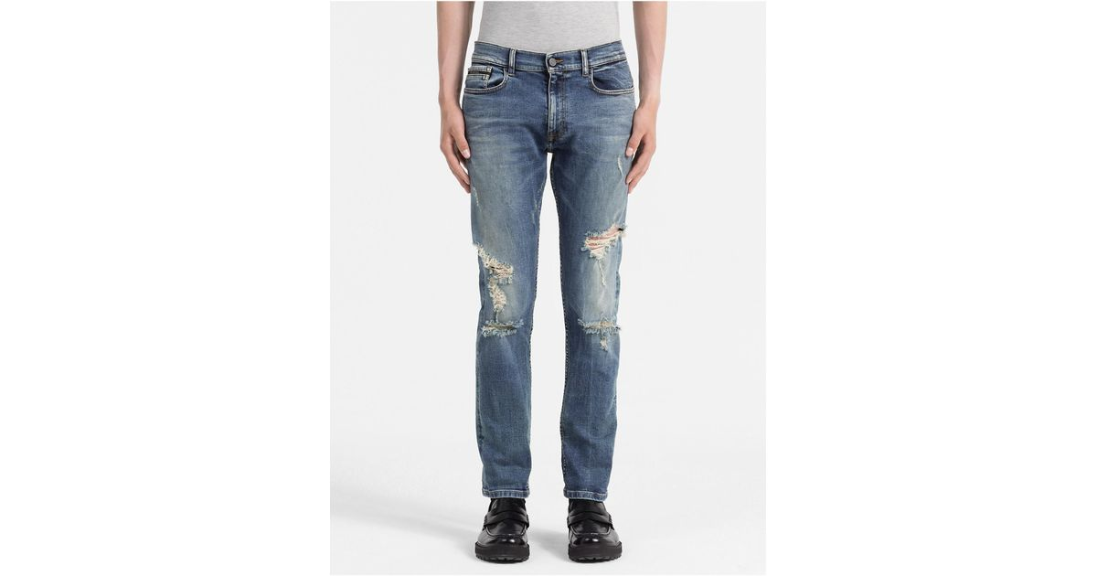 shoes for cheap replicas biggest discount Calvin Klein - Blue Straight Tapered Selvedge Jeans for Men - Lyst