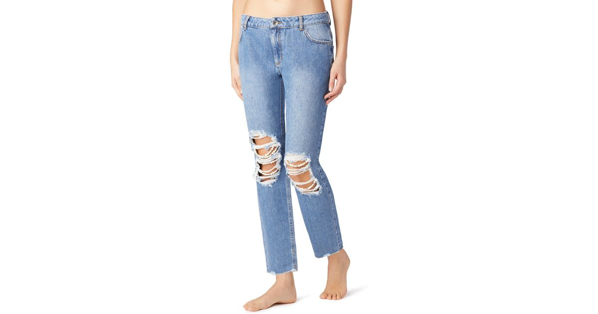 9caea869d Calzedonia Jeans With Rips And Pearls in Blue - Lyst