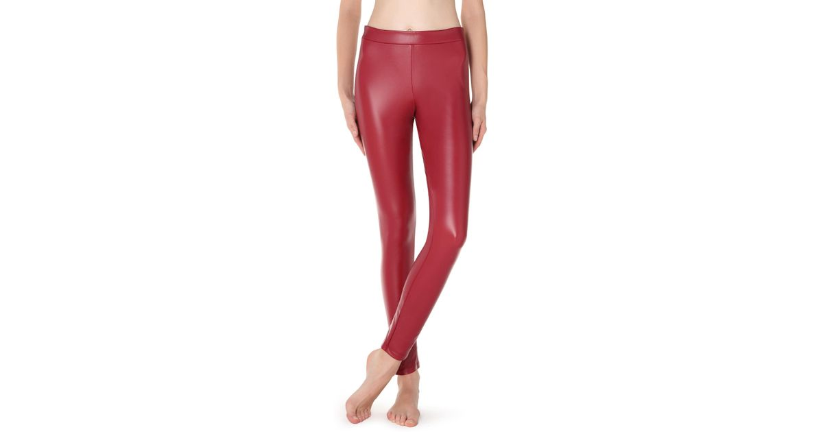 824b6a3d8d87b7 Calzedonia Thermal Leather-effect leggings in Red - Lyst