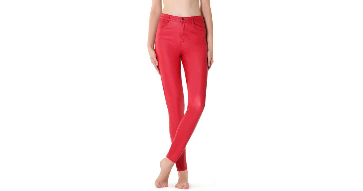 afe5fbe5eea477 Calzedonia Leather-effect leggings in Red - Lyst