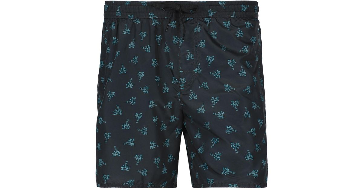 1f918df187 Lyst - Calzedonia Formentera Patterned Swim Trunks in Black for Men
