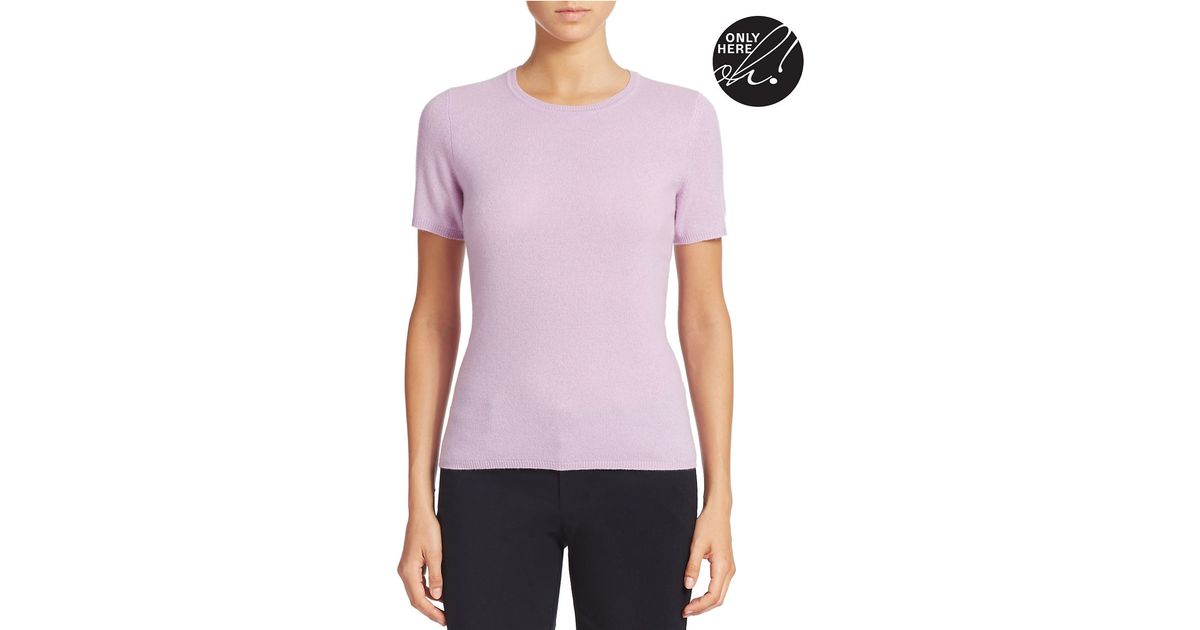Lord Taylor Petite Short Sleeve Cashmere Sweater In